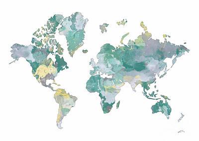 World Map 11 Watercolor Poster by Svetla Tancheva