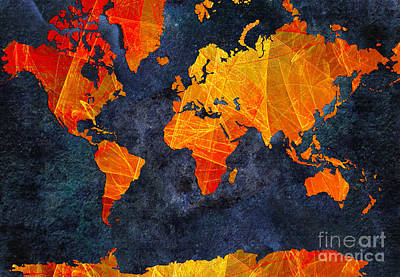 World Map - Elegance Of The Sun - Fractal - Abstract - Digital Art 2 Poster by Andee Design