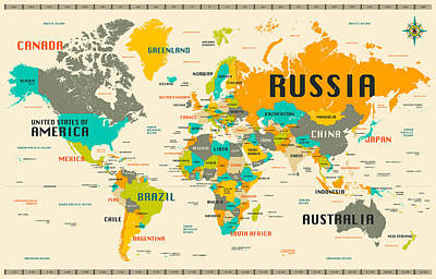 World Map Poster by Jazzberry Blue