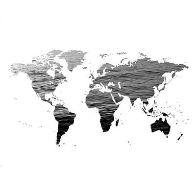 World Map - Ocean Texture - Black And White Poster by Marianna Mills