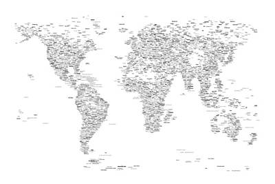 World Map Of Cities Typography Map Poster by Michael Tompsett