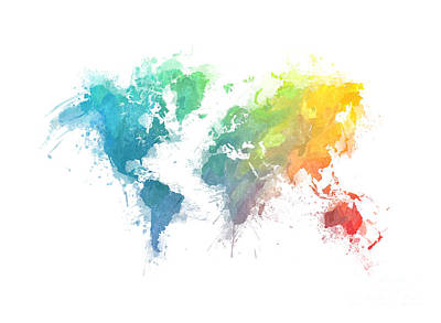 World Map Splash 1 Poster by Justyna JBJart