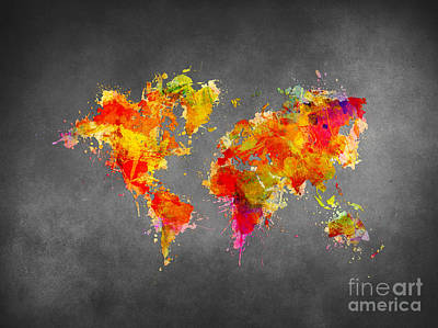 World Map Splash Red Poster by Justyna JBJart
