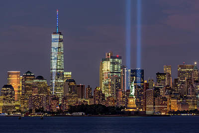 World Trade Center Wtc Tribute In Light Memorial Poster by Susan Candelario