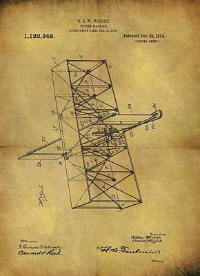 Wright Brothers Flying Machine Patent Poster by Dan Sproul
