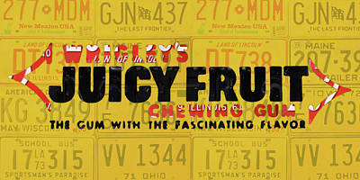Wrigleys Juicy Fruit Gum Recycled Vintage Illinois License Plate Art Poster by Design Turnpike