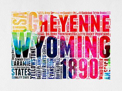 Wyoming Watercolor Word Cloud Map Poster by Naxart Studio
