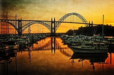 Yaquina Bay View On Metal Original Poster by Thom Zehrfeld