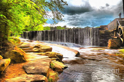 Yates Mill Dam Raleigh Nc Poster by Mylinda Revell