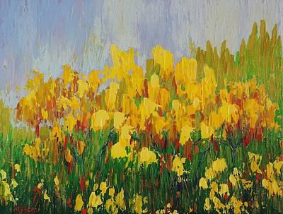 Yellow Brush Poster by Margaret Bobb