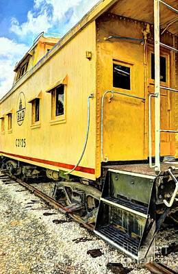 Yellow Caboose Poster by Mel Steinhauer