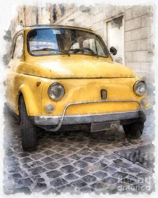 Yellow Fiat 500 Watercolor Poster by Edward Fielding