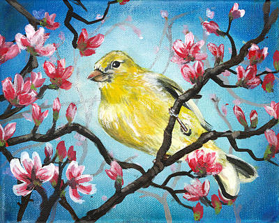 Yellow Finch Bird By Gretchen Smith Poster by Gretchen  Smith
