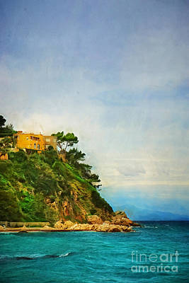 Yellow House In Capri Poster by HD Connelly