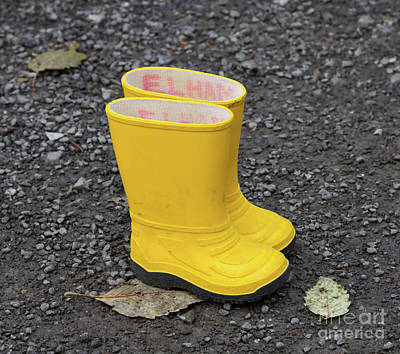 Yellow Wellies Poster by Louise Heusinkveld