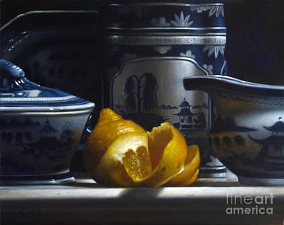 Yellow White Blue Poster by Larry Preston