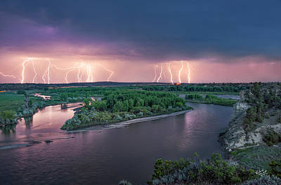 Yellowstone River Lightning Poster by Leland D Howard