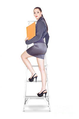 Young Business Woman Climbing The Corporate Ladder Poster by Jorgo Photography - Wall Art Gallery