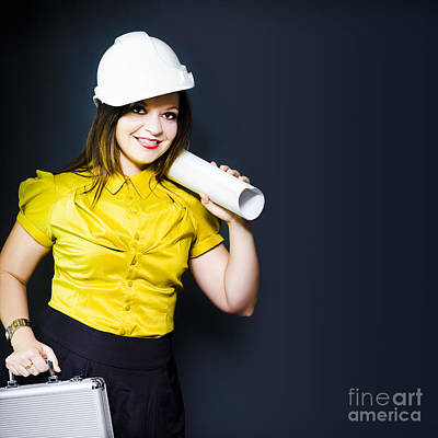 Young Female Architect On A Site Inspection Poster by Jorgo Photography - Wall Art Gallery