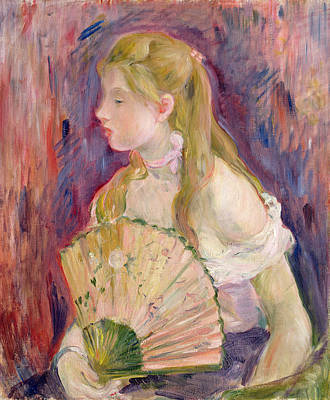Young Girl With A Fan Poster by Berthe Morisot