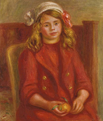 Young Girl With An Orange Poster by Pierre Auguste Renoir