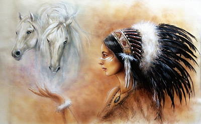Young Indian Woman Wearing A Gorgeous Feather Headdress With An Image Of Two White Horse Poster by Jozef Klopacka