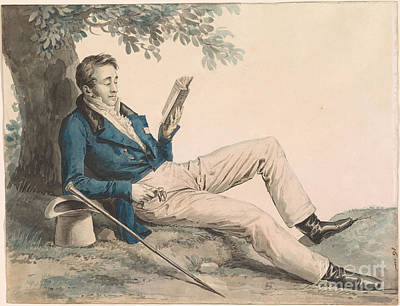 Young Man Reading Under A Tree Poster by Julien Leopold Boilly