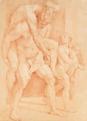 Young Man Saving His Father Poster by Raphael