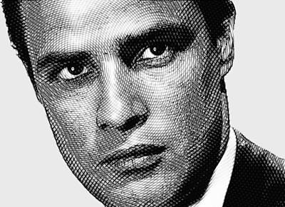 Young Marlon Brando Etching Black Gray Poster by Tony Rubino