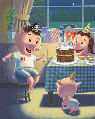 Young Pig Birthday Party Poster by Martin Davey