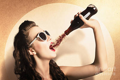 Young Pinup Woman In Sunglasses Drinking Soda Poster by Jorgo Photography - Wall Art Gallery