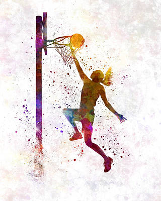 Young Woman Basketball Player 04 In Watercolor Poster by Pablo Romero