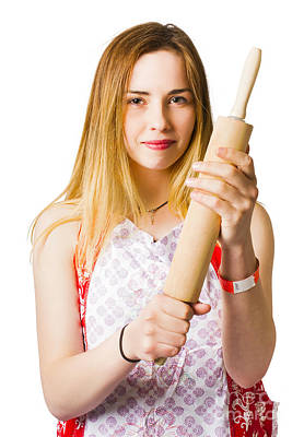 Young Woman Holding Rolling-pin Poster by Jorgo Photography - Wall Art Gallery