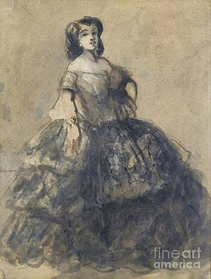 Young Woman Wearing Crinoline Poster by Celestial Images