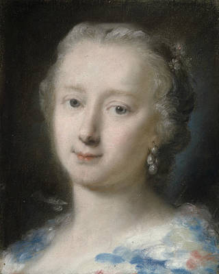Young Woman With Flowers In Her Hair Poster by Rosalba Carriera