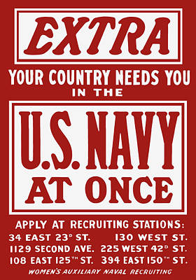 Your Country Needs You In The Us Navy Poster by War Is Hell Store