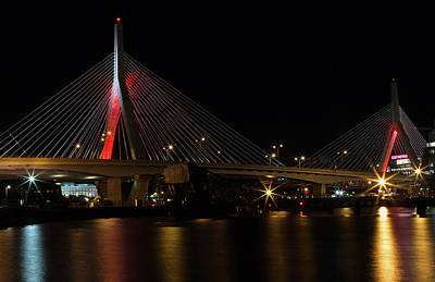 Zakim Bridge Lit Up In Red Poster by Juergen Roth