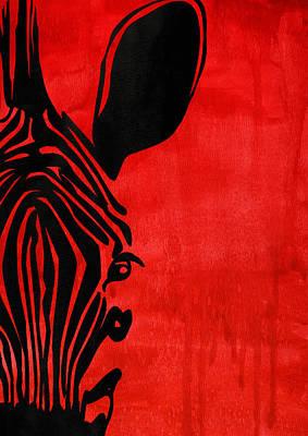 Zebra Animal Decorative Red Poster 3 - By Diana Van Poster by Diana Van