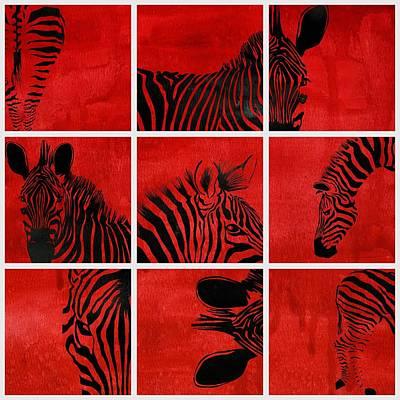 Zebra Animal Decorative Red  Multiptych  - By  Diana Van Poster by Diana Van