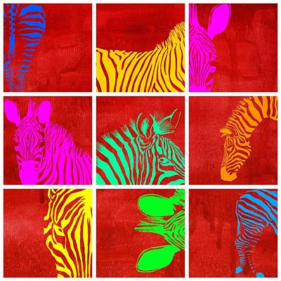 Zebra Animal Decorative Colorful  Multiptych 1  - By Diana Van Poster by Diana Van