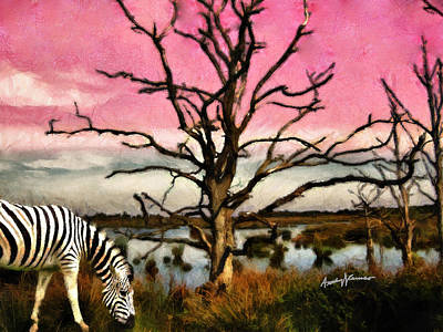 Zebra Grazing Poster by Anthony Caruso