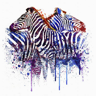 Zebras In Love Poster by Marian Voicu