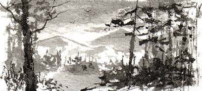 Zen Ink Landscape 2 Poster by Sean Seal