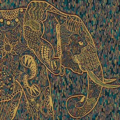 Zentangle Elephant-oil Gold Poster by Becky Herrera