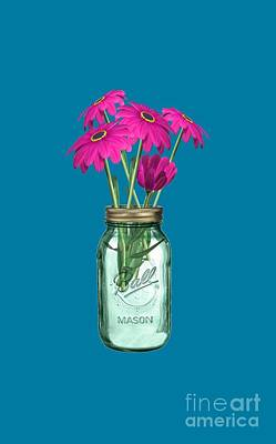 Zinnias In A Mason Jar Poster by Anne Kitzman