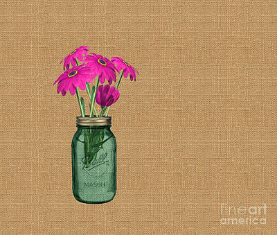 Zinnias In A Mason Jar On Burlap Poster by Anne Kitzman