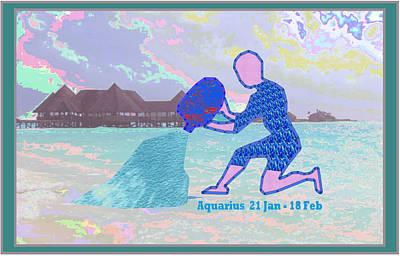 Zodiac Astrology Symbol Aquarius Jan 21 To Feb 18 Symbol Artistic Presentation Poster by Navin Joshi
