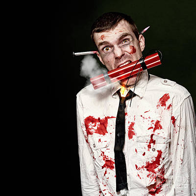 Zombie Suicide Bomber Holding Explosives In Mouth Poster by Jorgo Photography - Wall Art Gallery