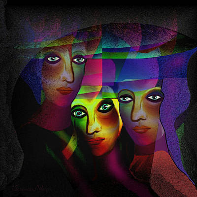 Luminescent Digital Art -  008 - Three Sisters In Pride  by Irmgard Schoendorf Welch