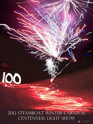 Fire Works Digital Art -  100th Annual Winter Carnival  by Daniel Hebard